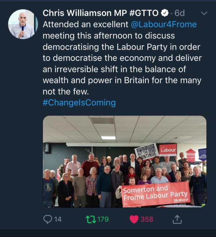 Chris Williamson's tweet